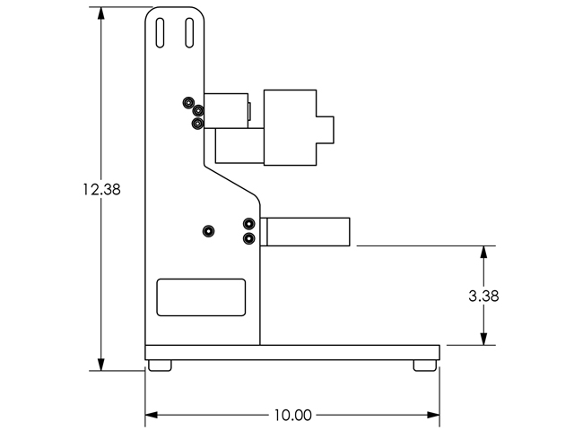 Basic dimensions of the flow cell mechanical components (base, arm, cell basin).