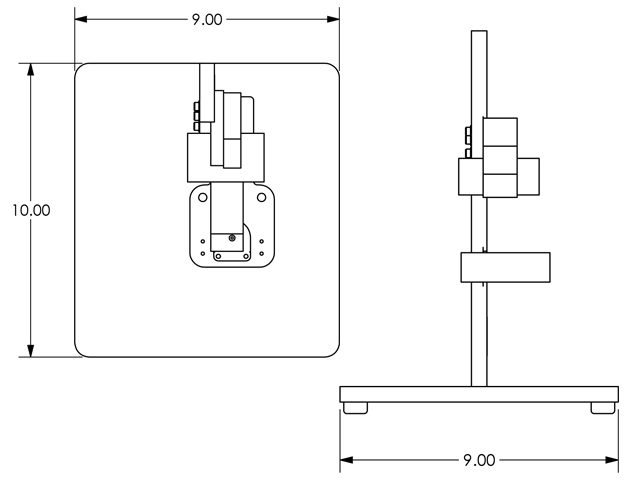 Additional representations of the flow cell mechanical component dimensions.