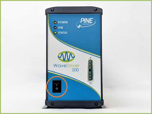 WaveDriver 200 with AC adapter connected and potentiostat powered on