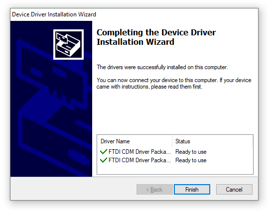 FTDI USB Device Driver Installation Dialog 2