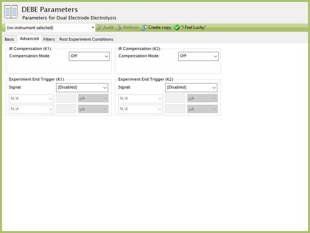 Dual Electrode Electrolysis (DEBE) Parameters Advanced Tab