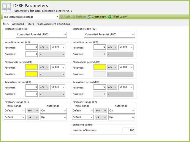 Dual Electrode Electrolysis (DEBE) Parameters Basic Tab