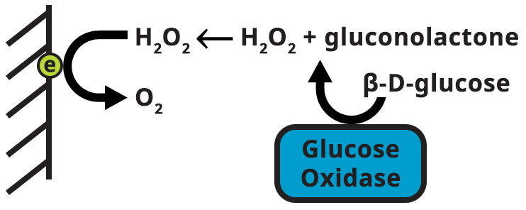 Electrode reaction for glucose detection