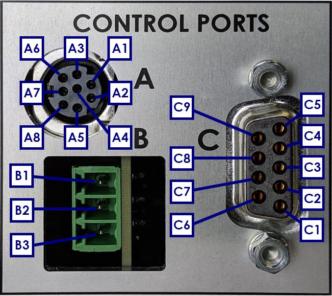 WaveDriver 200 Control Ports A, B, and C Pinouts