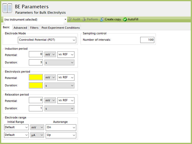 Bulk Electrolysis (BE) Basic Tab in AfterMath