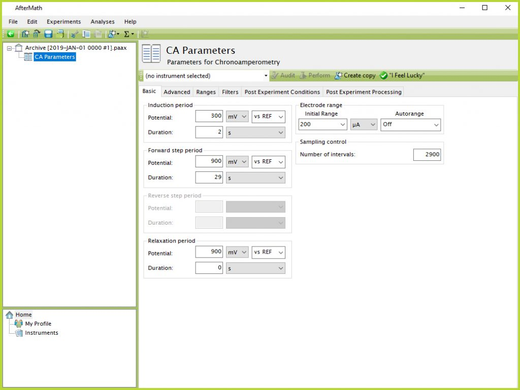 Chronoamperometry Experimental Parameters in AfterMath Software