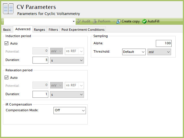 Cyclic Voltammetry (CV) Experiment Advanced Tab in AfterMath