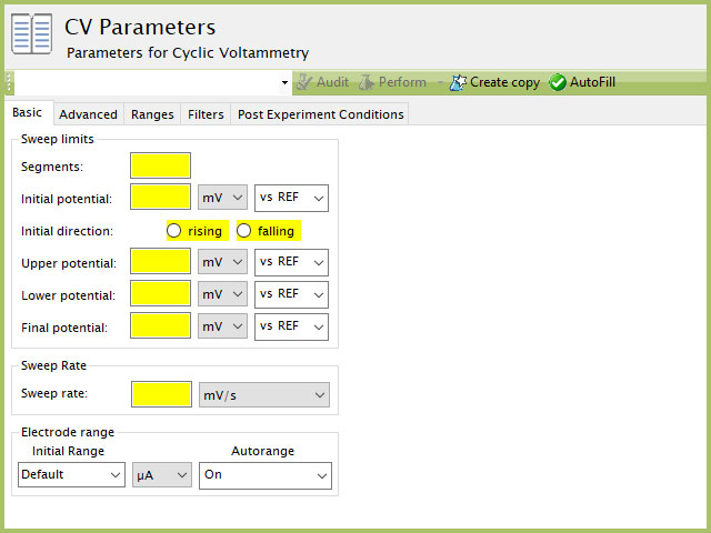 Cyclic Voltammetry (CV) Experiment Basic Tab in AfterMath