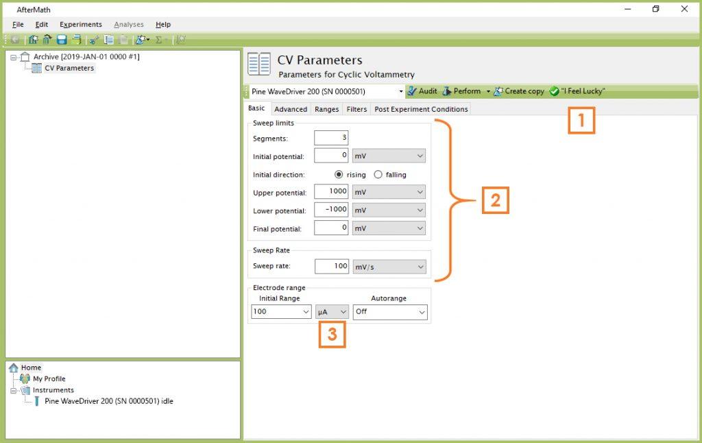Cyclic Voltammetry (CV) Parameters Dialog Window