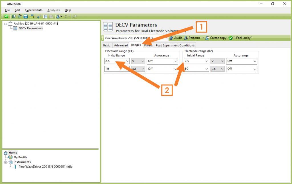 "Adjusting the Potential Ranges on the ""Ranges"" Tab (DECV)"