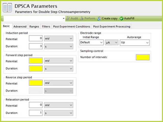 Double Potential Step Chronoamperometry (DPSCA) Experiment Basic Tab in AfterMath