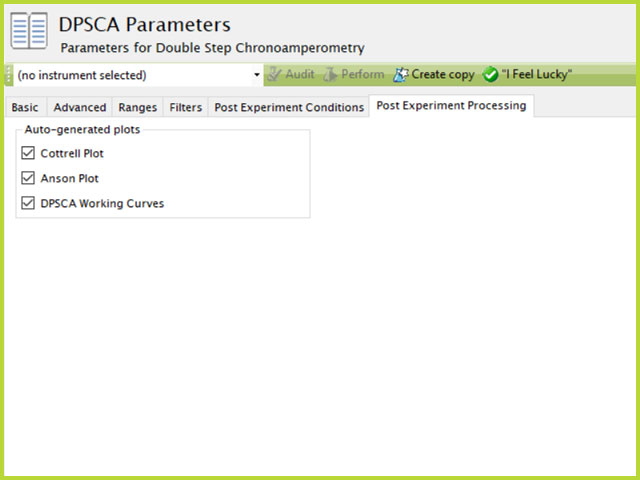 Double Potential Step Chronoamperometry (DPSCA) Post-Experiment Processing Tab in AfterMath