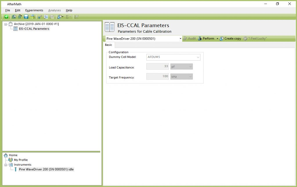 Cable Calibration (EIS-CCAL) Experiment Dialog Window