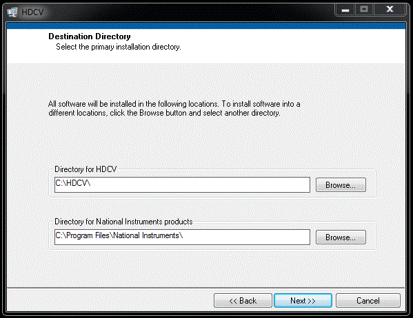 HDCV Software Setup Screen - Screen 1
