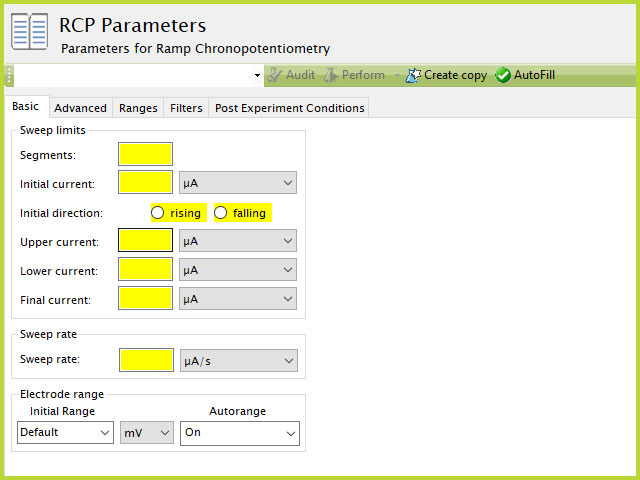 Ramp Chronopotentiometry (RCP) Experiment Basic Tab in AfterMath