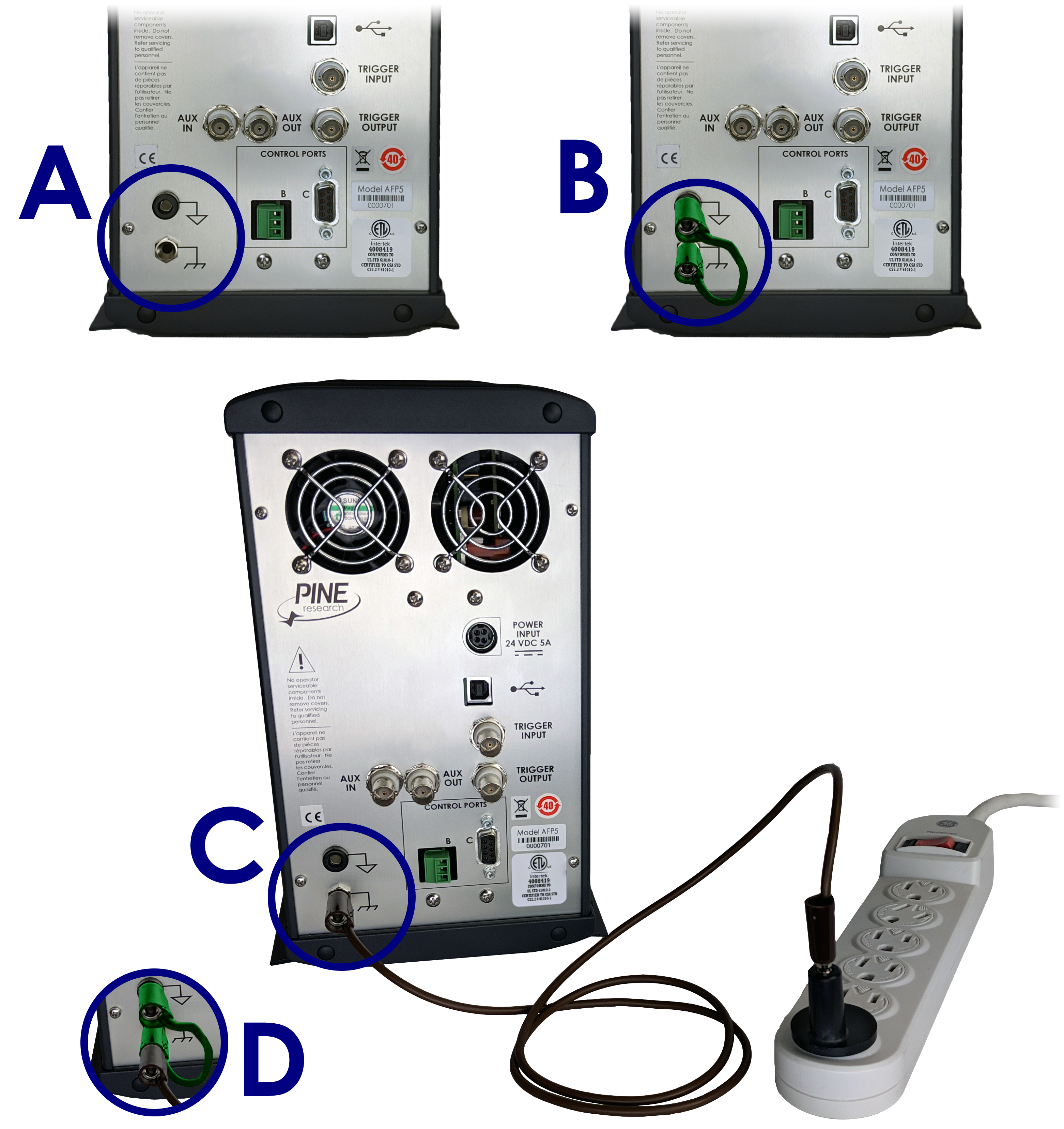 WaveDriver 200 Four Common Instrument Grounding Configurations