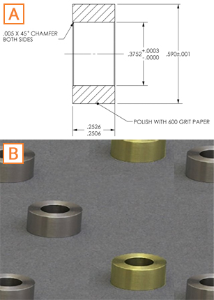 (A) Mechanical Drawing of 15 mm OD Cylinder Inserts; (B) Photo of 15 mm OD Cylinder Inserts