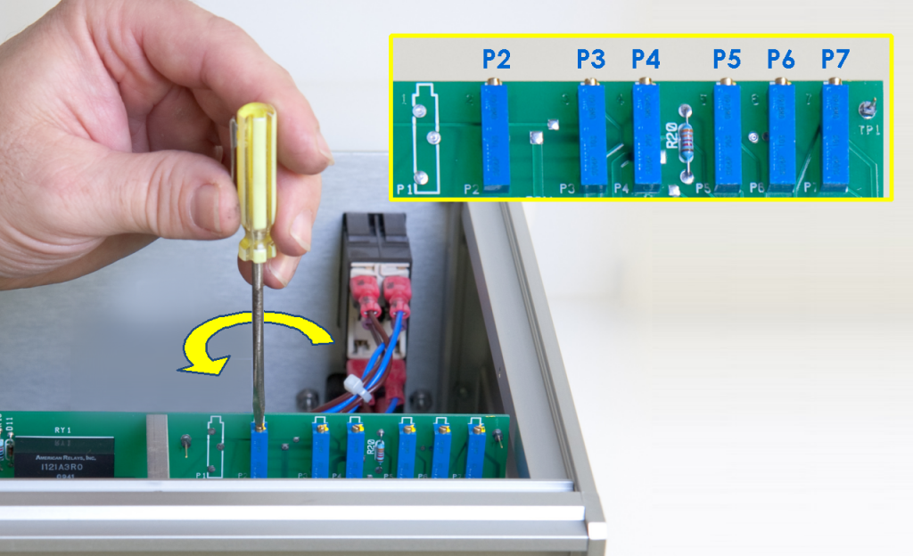Location of the Trim Potentiometers on the MSR Rotator Control Unit Circuit Board