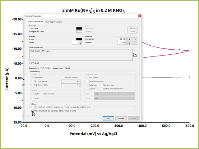 Numeric Properties Dialog WIndow for the Peak Height Tool Output Options
