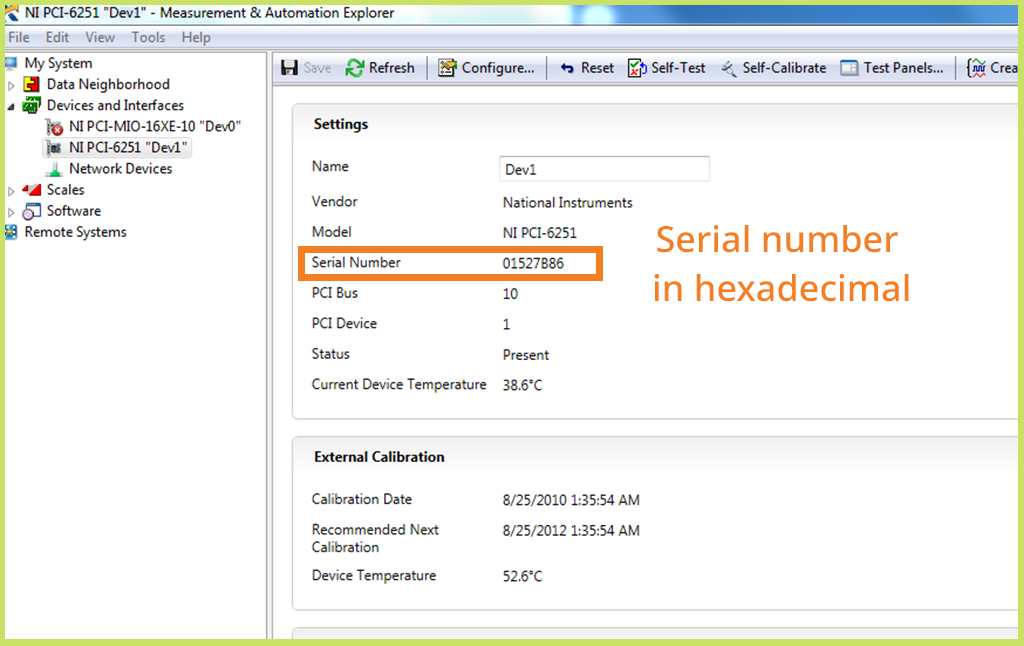 Serial number location in NIDAQ software