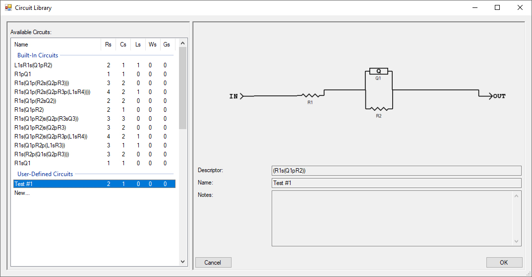 Circuit Library with Saved Custom Circuit