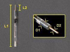 Reference Electrode (part number RRPEAGCL)dimensions (mm): L1=84, L2=7, D1=3.5, D2=1.0