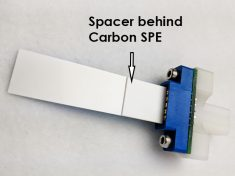 Image of spacer placed behind carbon SPE in grip mount