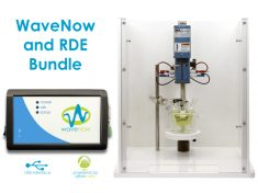 The WaveNow Potentiostat RDE Bundle includes potentiostat, software, cables, rotator, electrodes, and cells.