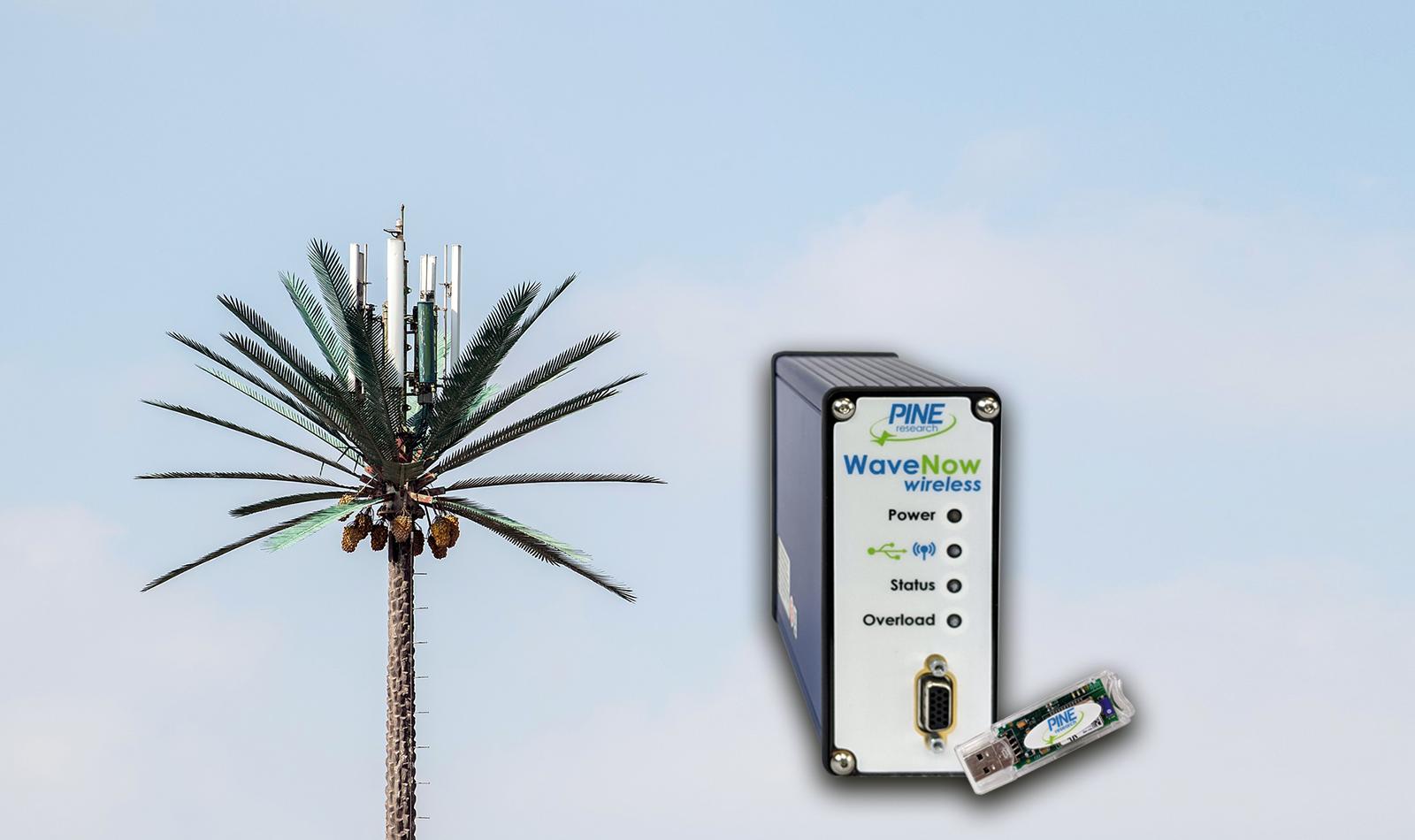 New WaveNow Wireless Potentiostat with faux palm tree wireless radio